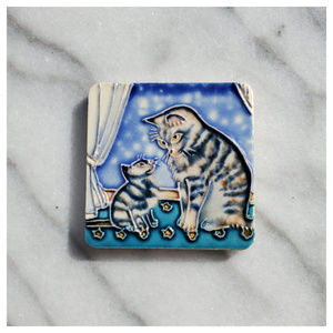 Ceramic Tabby Cat and Kitten Refrigerator Magnet